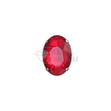 Ovale in cristallo con castone ROSSO