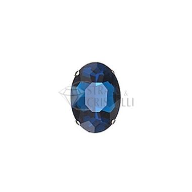 Ovale in cristallo con castone BLU