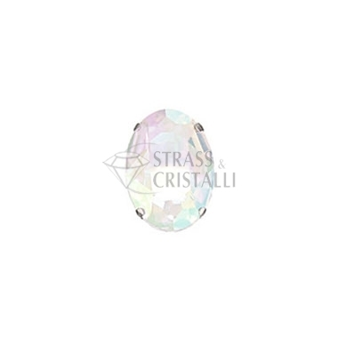 Ovale in cristallo con castone WHITE OPAL