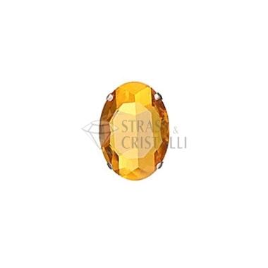 Ovale in cristallo con castone TOPAZIO