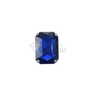 Ottagono in cristallo con castone BLU
