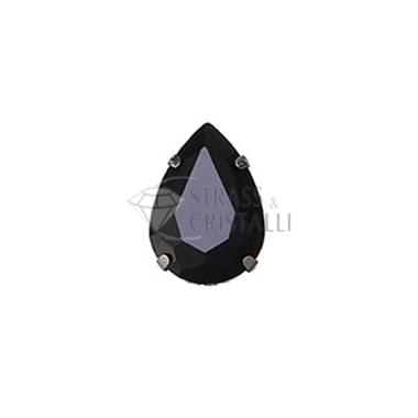 Goccia in cristallo con castone NERO