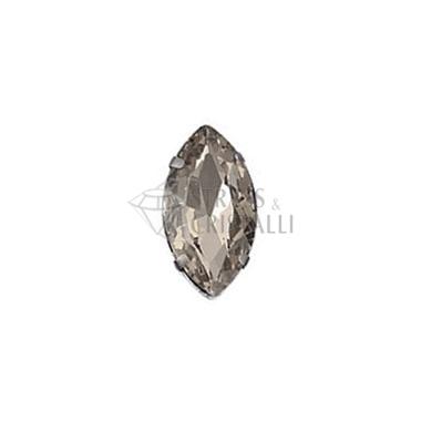 Ovale in cristallo con castone GRIGIO