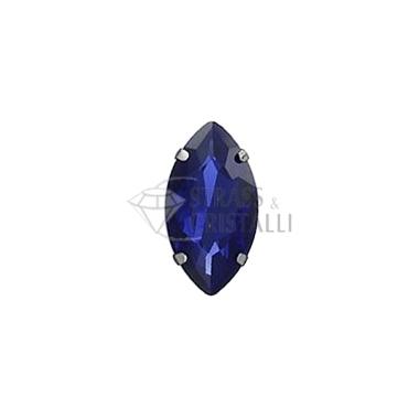 Navetta in cristallo con castone BLU