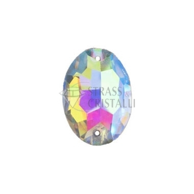 Pietra da cucire con fori  ovale 10 MM Crystallo