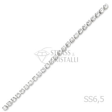 CATENA STRASS SS 6,5 ARGENTO 2 mm