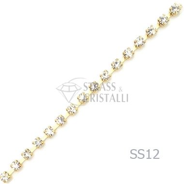 CATENA STRASS SS12 ORO 3 mm