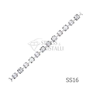 Catena STRASS E PERLA SS216  4 mm